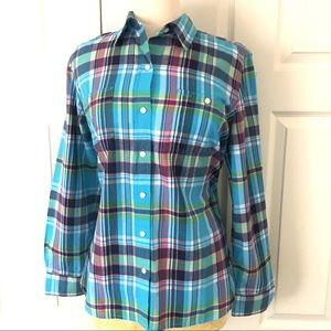 Lauren Ralph Lauren Plaid Button Up Shirt Sz L